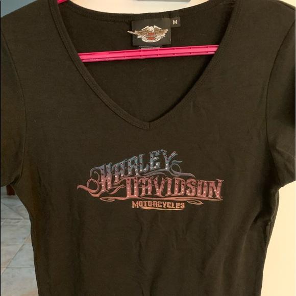 Harley Davidson woman's black v neck t-shirt (M)